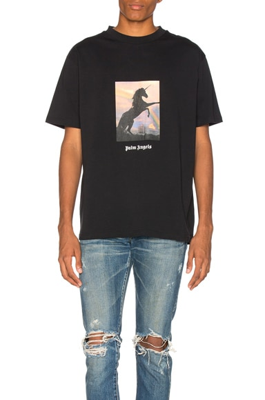 Palm Angels Unicorns Do Exist Tee in Black & Multicolor