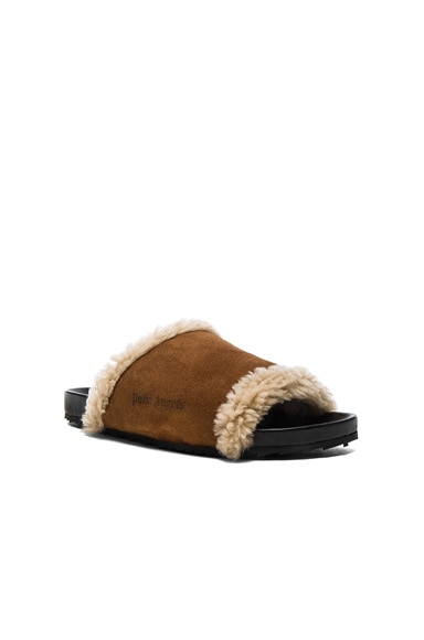 Palm Angels Lamb Shearling Slides in All Over Brown