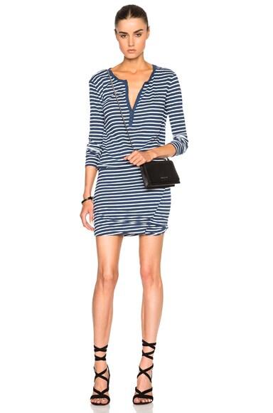 Pam & Gela Long Sleeve Henley Dress in Pertol Blue Stripe