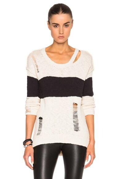 Pam & Gela Stripe Sweater in Cream & Black Stripe