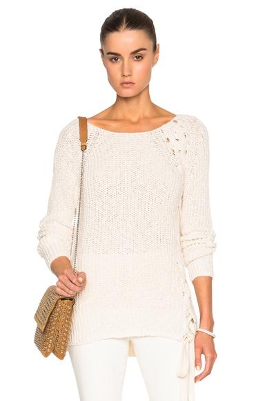 Pam & Gela Lace Up Sweater in Cream