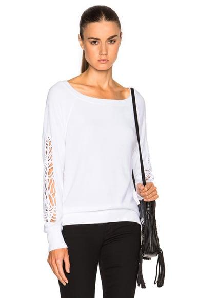 Pam & Gela Shoulder Detail Sweatshirt in White