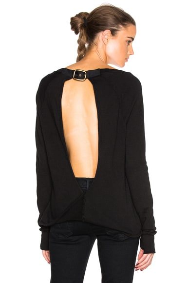 Pam & Gela Twist Back Sweater in Black