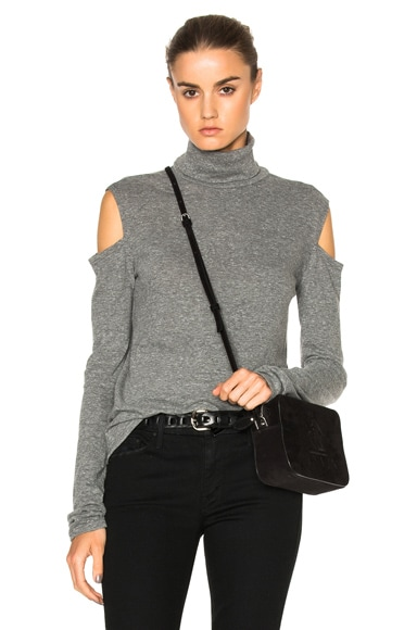 Pam & Gela Cold Shoulder Turtleneck Sweater in Heather Grey