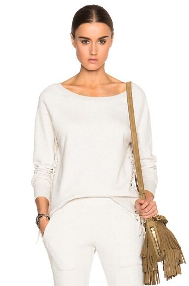 Pam & Gela Lace Up Sweatshirt in Oatmeal