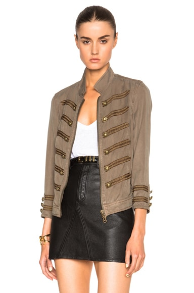 Pam & Gela Cropped Band Jacket in Army