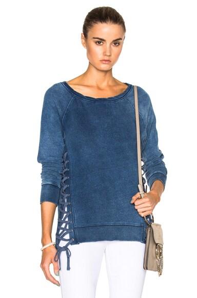 Pam & Gela Hi Lo Sweatshirt in Indigo Wash