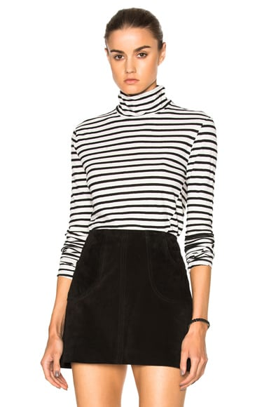 Pam & Gela Turtleneck Zip Tee in Black & Cream