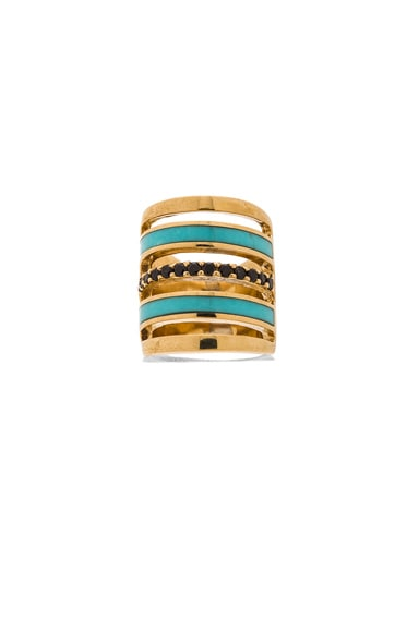 Pamela Love Inlay Pave Ring in Brass & Turquoise