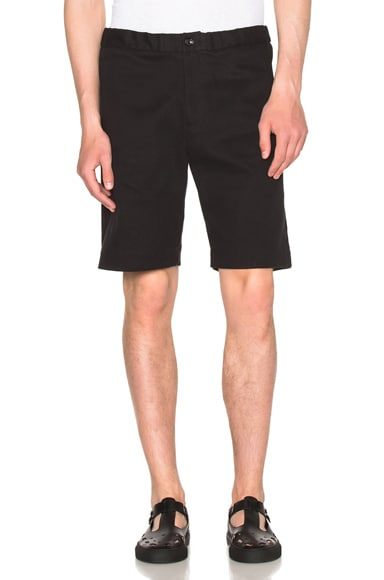 Patrik Ervell Long Shorts in Black Cotton Twill