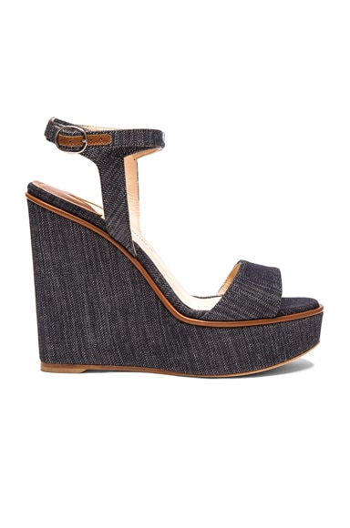 Paul Andrew Denim Laura Wedges in Indigo & Cuoio