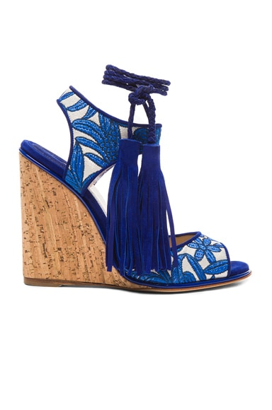 Paul Andrew Suede Tianjin Wedges in Sky & Natural