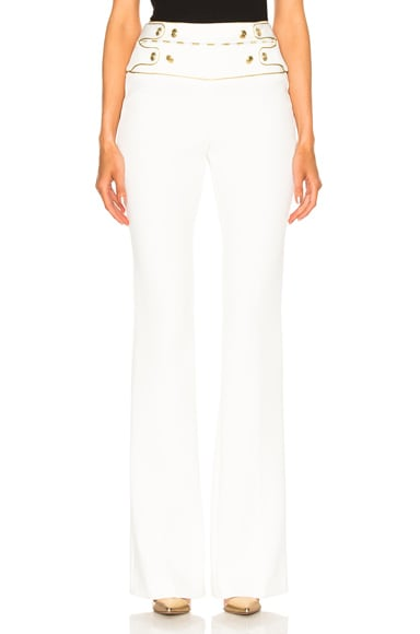 Pierre Balmain Slim Flare Pant in Off White