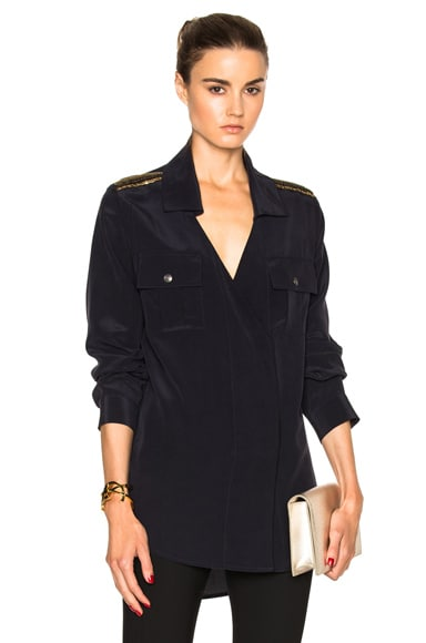 Pierre Balmain Button Up Top in Navy