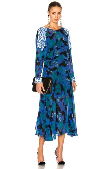 Preen by Thornton Bregazzi Laverne Dress in Cobalt Flower & Sky Leaf