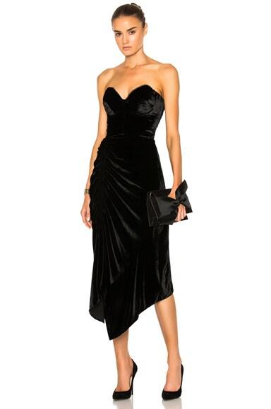 Preen by Thornton Bregazzi Alexa Velvet Dress in Black