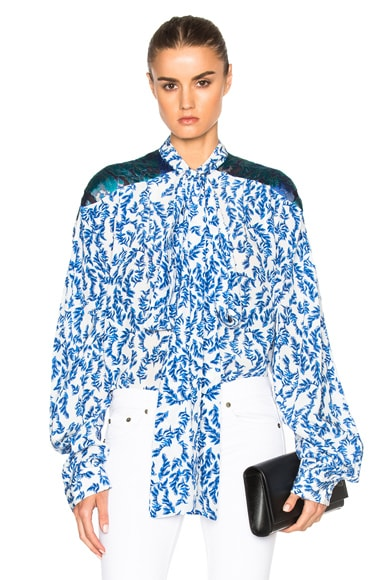 Preen by Thornton Bregazzi Corina Top in Blue & Sky Leaf
