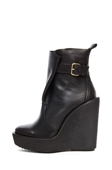 Leather Wrap Wedge Bootie