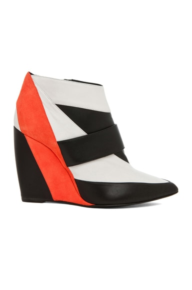 Calfskin & Nappa Leather Colorblock Wedges