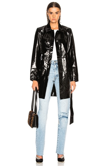 Patent Leather Menswear Short Trench Coat