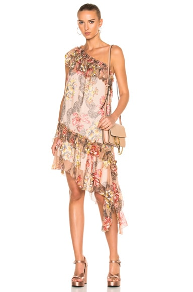 Philosophy di Lorenzo Serafini One Shoulder Asymmetrical Dress in Fantasy Print Pink