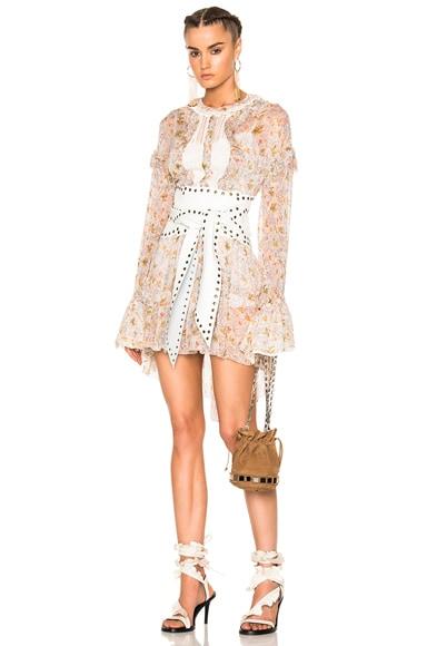 Philosophy di Lorenzo Serafini Long Sleeve Mini Dress in Fantasy Print White