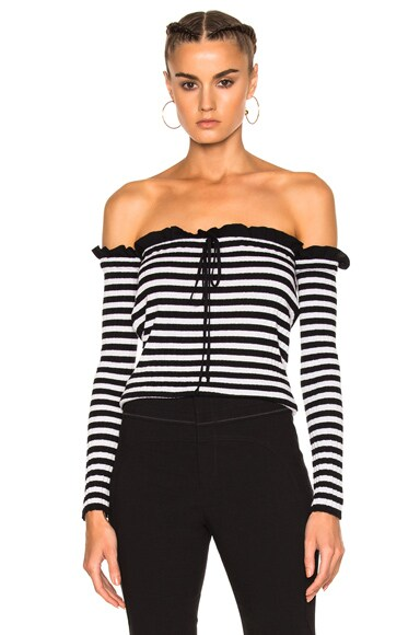 Philosophy di Lorenzo Serafini Off the Shoulder Top in Black & White Stripe