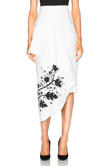 Peter Pilotto Printed Cady Skirt in Black & White Leaf