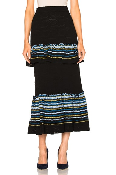 Peter Pilotto Jacquard Ruffle Knit Skirt in Navy