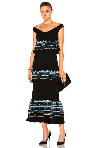Jacquard Ruffle Knit Skirt