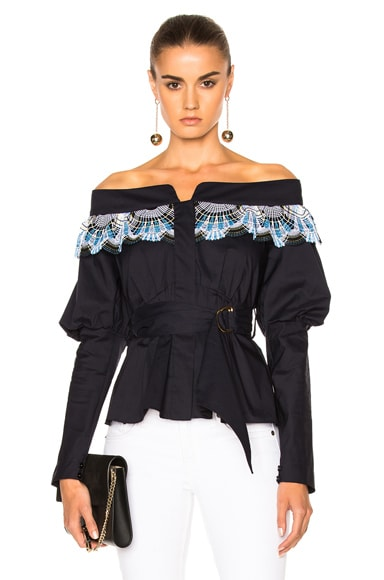 Cotton Lace Belted Top