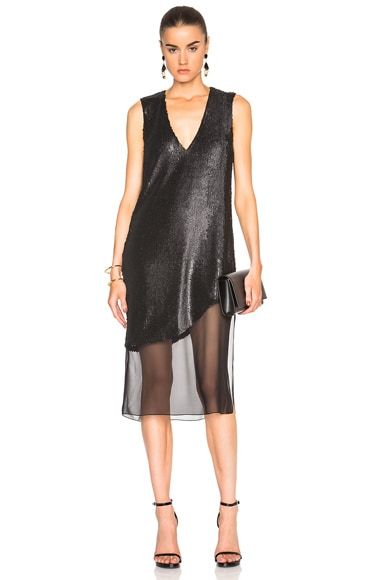 Prabal Gurung Dusted Pailette Embroidery Dress in Black