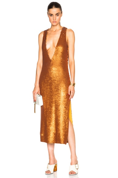Prabal Gurung Dusted Paillette Embroidered Dress in Saffron
