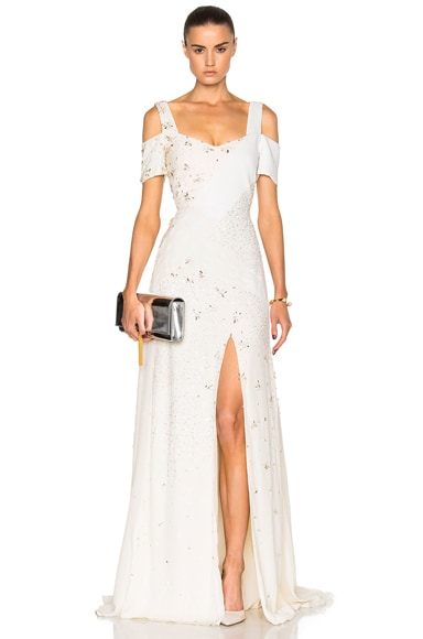 Prabal Gurung Embroidered Cold Shoulder Gown in Snow