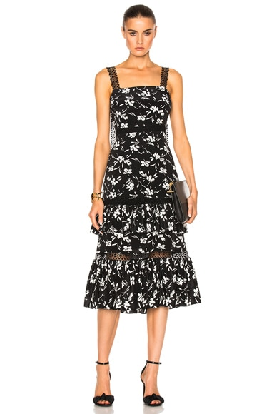 Floral Print Jacquard Tiered Ruffle Dress