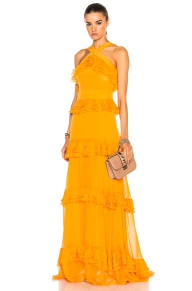 Crepe De Chine Tiered Ruffle Gown