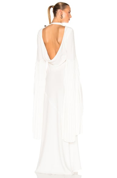 Prabal Gurung Satin Back Cady Bare Back Gown in White