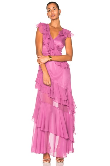 Short Sleeve Tiered Ruffle Gown