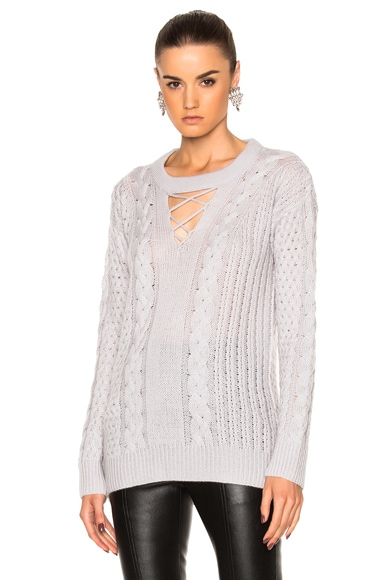 Prabal Gurung Cashmere Silk Knit V-Neck Fisherman Pullover in Heather Gray