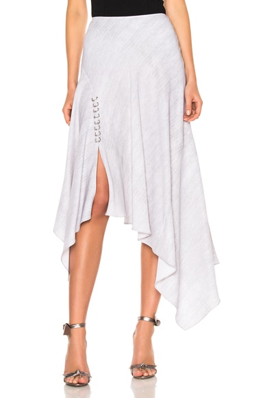Prabal Gurung Print Cady Handkerchief Hem Skirt in Heather Gray