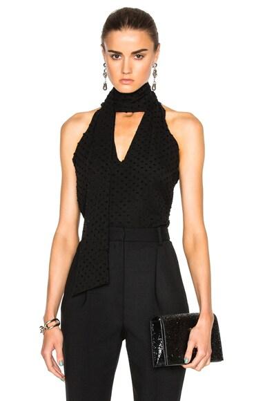 Prabal Gurung Cotton Silk Fil Coupe Tie Neck Blouse in Black