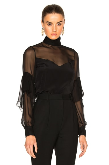 Prabal Gurung Crepe De Chine Mock Neck Layered Sleeve Blouse in Black