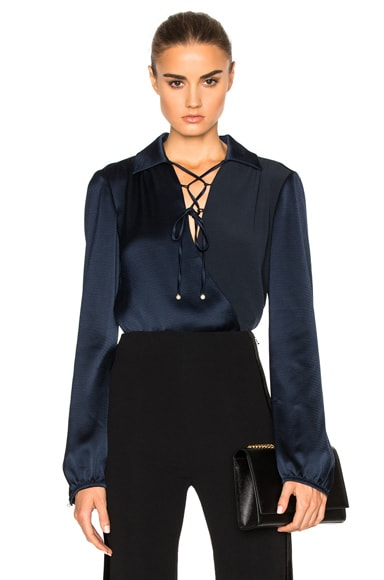 Prabal Gurung Crepe De Chine Wrap Front Blouse in Navy