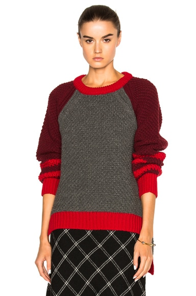 Preen Line Josie Sweater in Burgundy, Grey & Red