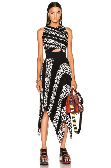 Proenza Schouler Printed Pleated Cloque Dress in Black Leopard Print