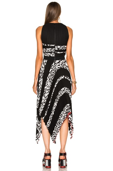 Printed Pleated Cloque Dress