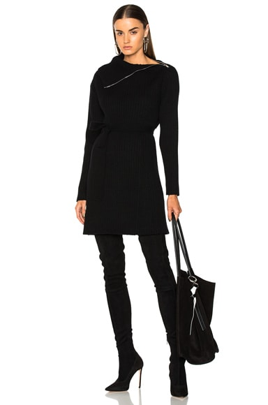 Wool Cashmere Backless Turtleneck Dress