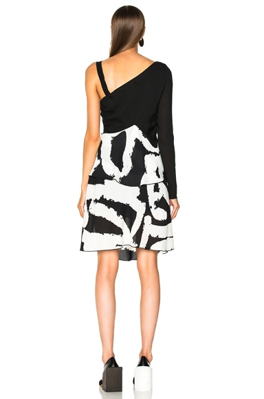 Pleated Printed Crepe One Sleeve Bandage Waist Dress