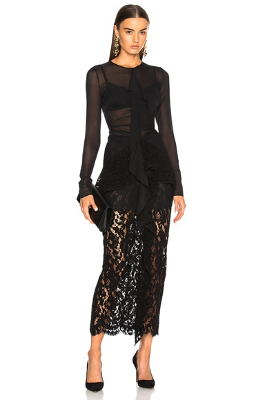 Corded Lace Long Sleeve Maxi Dress