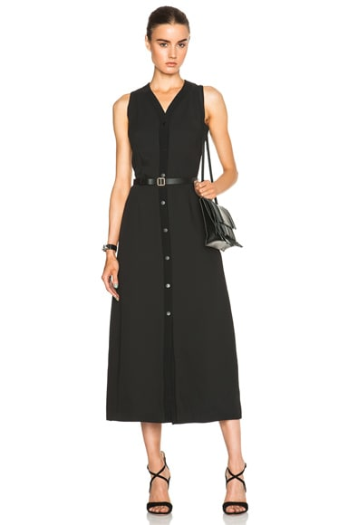 Proenza Schouler Light Weight Cloque Snap Dress in Black
